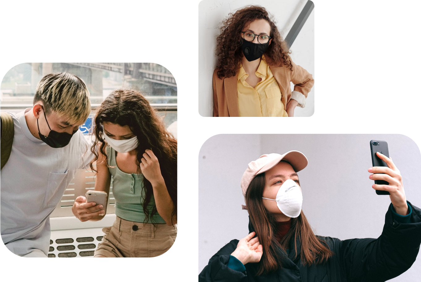 Two people wearing face masks looking at a phone, person wearing a face mask taking a selfie, and a person wearing a face mask